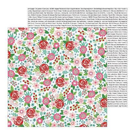 Papel scrapbook 30x30 Loves me - Bouquet of Love - Amor - Pebbles