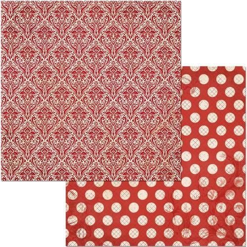 Papel scrapbook 30x30 Double Dot - Wild Berry Damask  - Bobunny