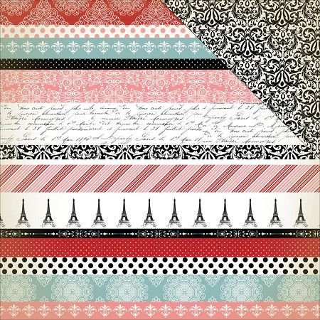 Papel scrapbook 30x30 Amour - Border Strips - Carta Bella