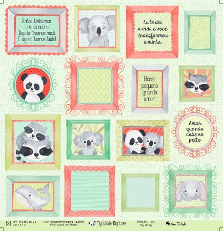 Papel scrapbook 30x30 My Little Big Love - My Baby 04 - My Memories Crafts