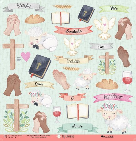 Papel scrapbook 30x30 My Blessing - My God 01 - My Memories Crafts