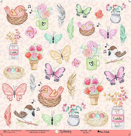 Papel scrapbook 30x30 My Blessing - My Gratitude 02 - My Memories Crafts