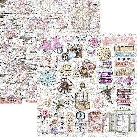 Papel para scrapbook - 30x30 - Dupla Face - Coleção Essence of Life - Folha 08 - EOL08 - Carina Sartor