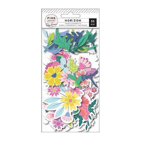 Die cuts Flores e Folhas 50 peça - Paige Taylor Evans - Pink Paislee