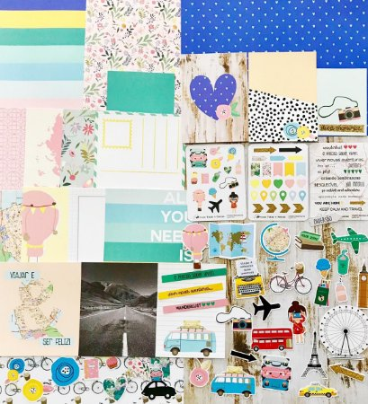 Kit Studio Baunilha - Kit Viajar é Preciso - Folhas, Adesivo, Die Cuts e Cards