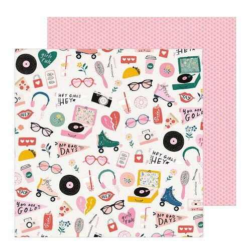 Papel para scrapbook 30x30 - Dupla Face - All Heart - Cute Stuff - Crate Paper