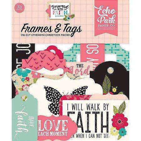 Die Cuts - Frames & Tags - Forward With Faith Ephemera Cardstock - Echo Park