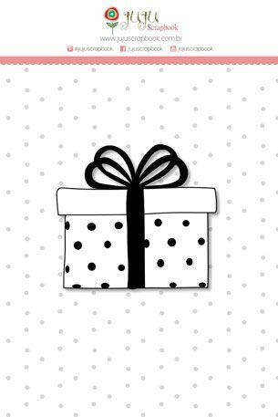 Cartela de carimbo de silicone Mini - Presente - Juju Scrapbook