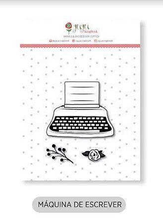 Cartela de carimbo de silicone Mini - Máquina de escrever - Juju Scrapbook