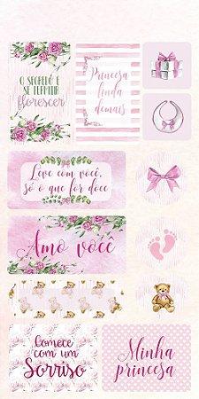 Cartela de adesivos 15x30 - Baby Girl - Arte Fácil