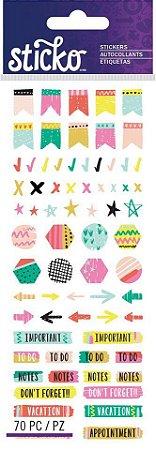 Cartela adesivos - Sticko - Marker - 70 peças - Sticko