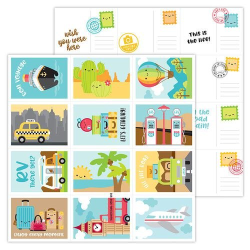 Papel de scrapbook 30x30 - Doodlebug - I Heart Travel - Wish You Were Here