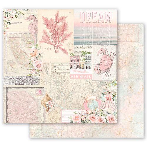 Papel para scrapbook - 30x30 Prima - Golden Coast Collection - California Dreaming  (com Foil)