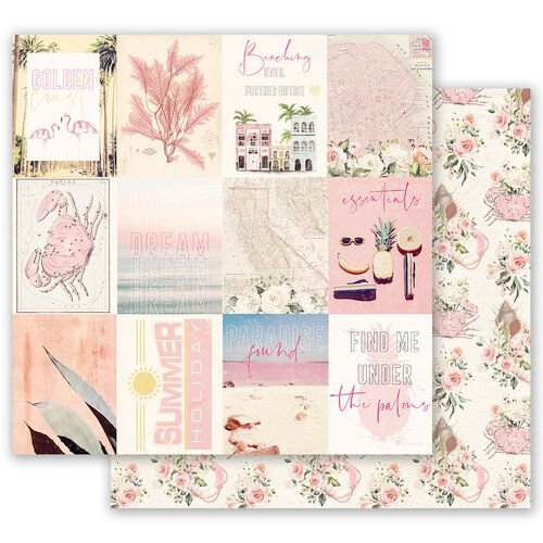 Papel para scrapbook - 30x30 Prima - Golden Coast Collection - Summer Feeling  (com Foil)