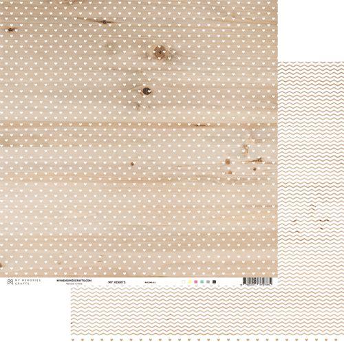 Papel para scrapbook - 30x30 - Dupla Face -  My Hearts - Branco - My Memories Crafts