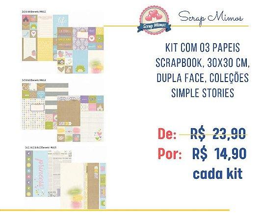 Kit com 03 papeis de scrapbook - 30x30 - Dupla Face - Enchanted - Simple Stories