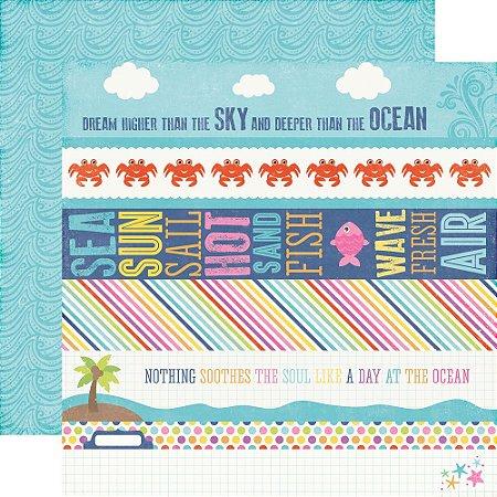 Papel para scrapbook - 30x30 - Dupla Face - Border Strips - Let's Be Mermaids - Echo Park