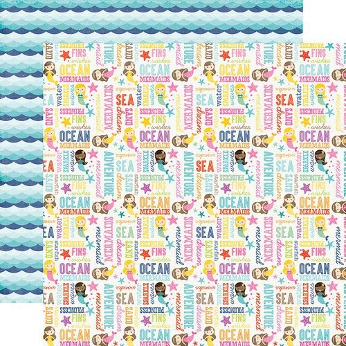 Papel para scrapbook - 30x30 - Dupla Face - Ocean Adventure - Let's Be Mermaids - Echo Park