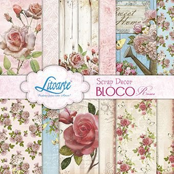 Bloco papel scrapbook Roses SBVX-015 - Litoarte