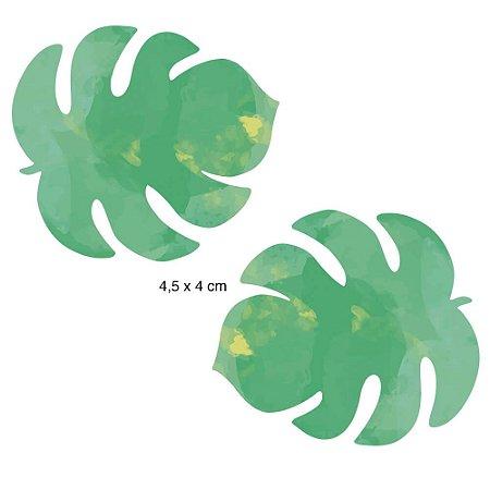 Aplique em MDF APM4-291 - 2 peças - Folhas verdes - Litoarte