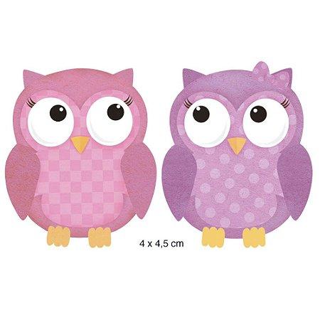 Aplique em MDF APM4-247 - 2 peças - Corujas rosa e lilás - Litoarte