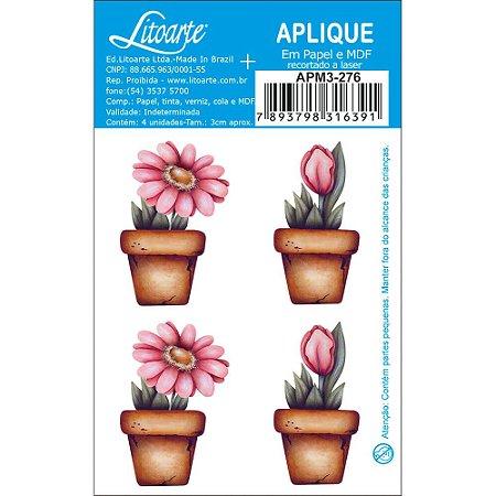 Apliques em MDF 4 flores no vaso APM3-276- Litoarte