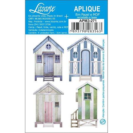 Apliques em MDF 4 casas de praia APM3-271- Litoarte