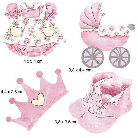 Apliques em MDF 4 bebe menina APM3-155- Litoarte