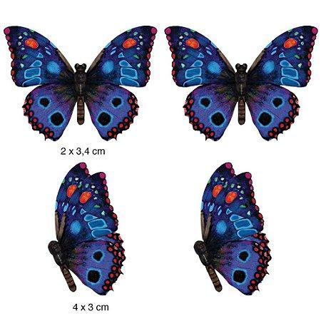Apliques em MDF 4 borboletas azul e vermelha APM3-124- Litoarte