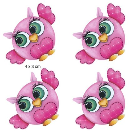 Apliques em MDF 4 corujas rosa APM3-084- Litoarte