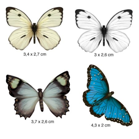 Apliques em MDF 4 borboletas azul /branca APM3-071- Litoarte