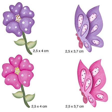 Apliques em MDF 4 flores e borboletas APM3-031- Litoarte
