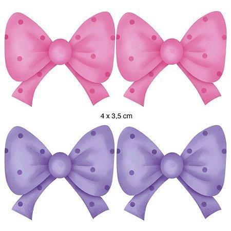Apliques em MDF 4 lacinhos rosa e lilás APM3-025 - Litoarte
