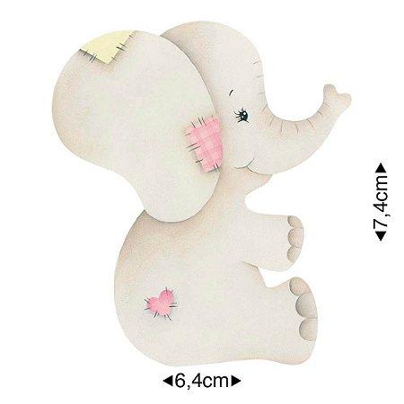 Aplique em MDF elefante patchwork, APM8-962 - Litoarte
