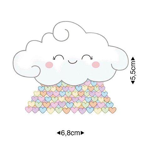 Aplique em MDF nuvem com coração, APM8-1066 - Litoarte