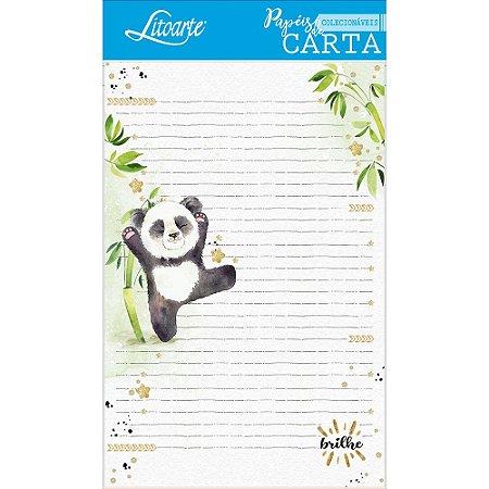 Kit papel de carta PEC 007 - 5 folhas - Panda - Litoarte