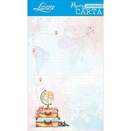 Kit papel de carta PEC 015 - 5 folhas - Viagem Mundo - Litoarte