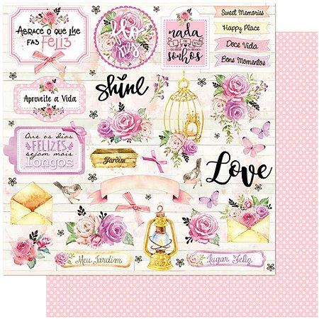 Papel SD-1107 Flores, Rosas, Romântico dupla-face  - Litoarte