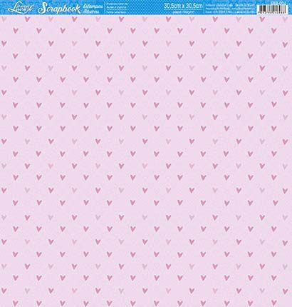 Papel SBB-002 corações rosa bebê - face única - Litoarte