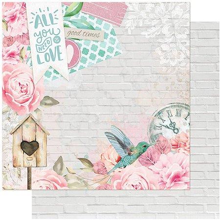 Papel SD-1091 Love, Beija-flor, tijolos dupla-face  - Litoarte