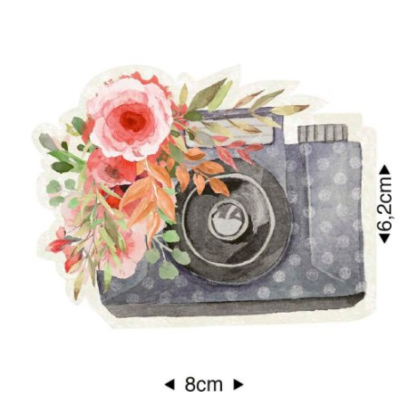 Aplique em MDF Máquina foto com flores, APM8-1217 - Litoarte