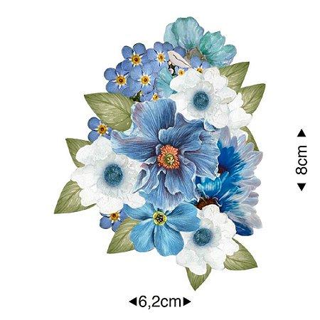 Aplique em MDF Flores tons azuis APM8-1248 - Litoarte