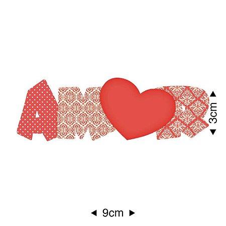 Aplique em MDF Amor vermelho APM8-501 - Litoarte