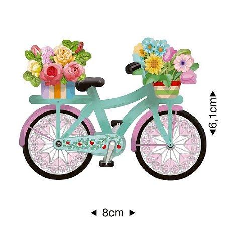 Aplique em MDF Bicicleta florida APM8-1154 - Litoarte