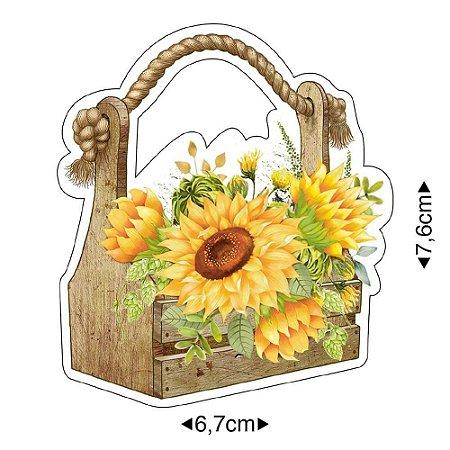 Aplique em MDF Flores girassol APM8-1293- Litoarte