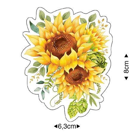 Aplique em MDF Flores Girassol APM8-1292 - Litoarte