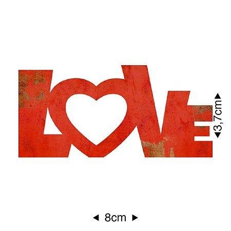 Aplique em MDF Love vermelho APM8-500 - Litoarte