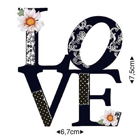 Aplique em MDF Palavra Love preto APM8-987 - Litoarte