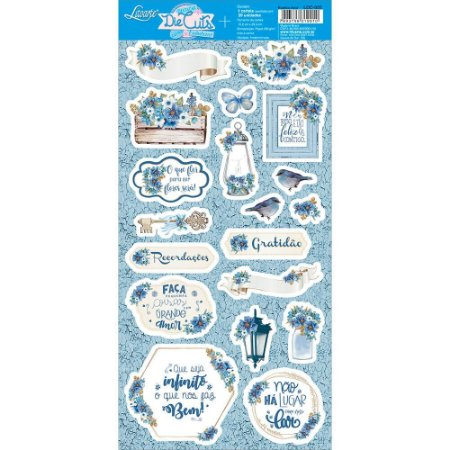 Cartela de die cuts Azul Vintage LDC-005 - Litoarte