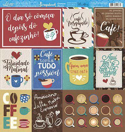Papel SBB-164 Tags e frases de café - face única- Litoarte
